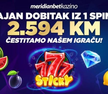 Pogodak u Sarajevu! Fantastični dobitak na Meridian online kazinu iz jednog spina!
